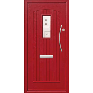 Joyce Modern grooved door with a small central rectangular light.